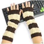 新款毛线手套韩版针织保暖长手套女时尚半指手臂套