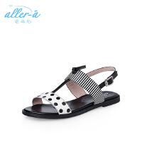 【 限时4折】爱旅儿哈森旗下韩版休闲一字带搭扣低跟平底凉鞋EM71508