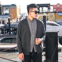 【秋冬新品】大码男士毛衣针织衫休闲秋冬款加肥加大300斤色V领开衫外套 灰色 图片色