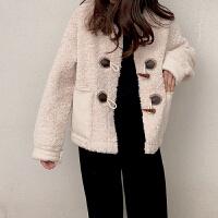 女装新款羊羔毛牛角扣大衣娃娃领显瘦短款女皮毛一体外套女女冬潮保暖宽松