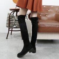 长靴女过膝靴2018秋冬季新品高筒平底长筒靴弹力靴加绒靴子女 722-黑色