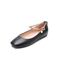 爱旅儿哈森旗下韩版休闲鞋羊皮革平跟方跟单鞋女EL78210