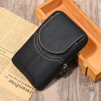 男士手机包穿皮带腰包手机套腰带包老人裤带多功能手机袋横款 黑色 16.5厘米5.5/6.0