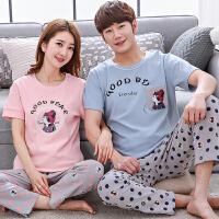 情侣睡衣春夏季女士新款韩版短袖长裤男款家居服套装
