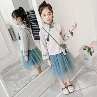 女童春装套装儿童中国风衣套装