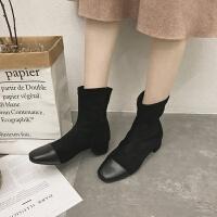 方头粗跟短靴女2019秋冬新款绒面拼接弹力黑色靴显瘦短筒切尔西靴
