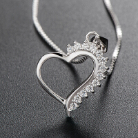 韩版气质银项链 微镶心形水晶吊坠女款配饰品 心形吊坠(不含链)