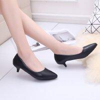 黑色小高跟女工作鞋职业中跟3-5-7公分浅口尖头四季通勤单鞋皮鞋