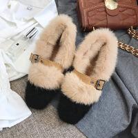 网红毛毛鞋女冬外穿2018新款方头皮带扣粗跟单鞋女复古加绒豆豆鞋