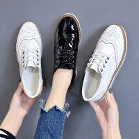 时尚布洛克女鞋韩版百搭厚底松糕鞋子女 新款软妹单鞋女英伦风小皮鞋女