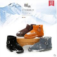 IVG 男士新款情侣雪地靴子防水真皮保暖平底短筒休闲短靴shoes0022