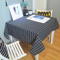 桌布布艺粉色格子少女心小清新文艺书桌茶几家用长方形北欧风q 黑色 黑大格