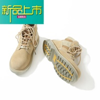新品上市C 美式复古做旧中高帮马丁靴 冬季拼接保暖休闲沙漠工装鞋男鞋
