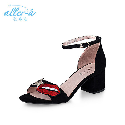 【 限时3折】爱旅儿哈森旗下一字带高跟女鞋个性罗马粗跟凉鞋EM71507