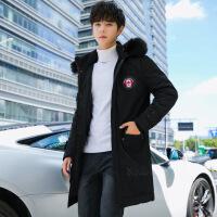 羽绒服男2019新款中长款服修身韩版冬装学生加厚男士帅气