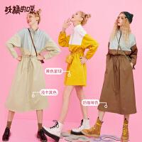 妖精的口袋拼接风衣式衬衫连衣裙2019秋季新款小个子轻熟风女chic