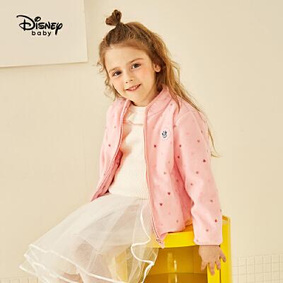 【2件3折价:56.7】迪士尼宝宝童装男女童春装摇粒绒外套拉链衫春秋中小童可爱上衣