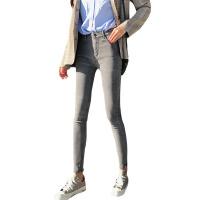 新年礼物秋冬韩版复古做旧加绒牛仔裤高腰紧身显瘦小脚裤铅笔裤学生裤子女