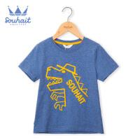 【3.5折价:48.65元】souhait水孩儿童装夏季新款圆领衫儿童T恤男小童T恤短袖T恤SHNXBX13CT676