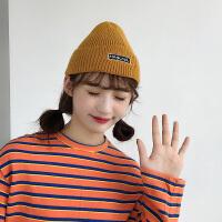 黄色针织毛线帽子女秋冬季韩版冬天保暖百搭瓜皮地主帽冷帽潮