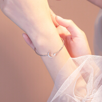 开口银手镯女简约气质时尚韩国小众设计手环首饰品