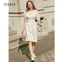 【3折到手价148元】Amii极简优雅时尚连衣裙2019夏季新款拼接腰带收腰复古中袖衬衫裙