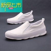 新品上市夏季新品男鞋潮鞋韩版一脚蹬厚底鞋真皮透气小白鞋日系休闲鞋