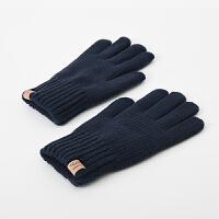 简约触屏毛线手套男冬保暖学生韩版针织冬天手套男 加厚 保暖加绒