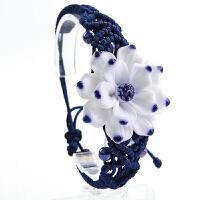 陶瓷饰品 女手链 民族风饰品 手工编织青花瓷女礼物