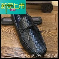 新品上市一脚蹬19冬季新款英伦男鞋豆豆鞋韩版百搭潮流个性真皮休闲皮鞋