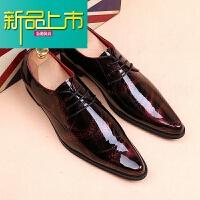 新品上市男士英伦尖头高跟皮鞋型师韩版潮男内增高6cm时尚个性真皮鞋子