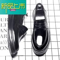 新品上市新漆皮亮面厚底一脚蹬男鞋韩版百搭男士休闲皮鞋男英伦潮流鞋