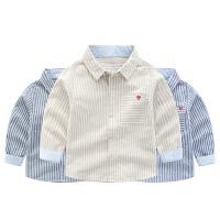儿童衬衫个性2019春季条纹翻领长袖衬衣男宝宝潮