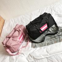 短途旅行包女手提大容量健身包韩版条纹干湿分离独立鞋位行李袋