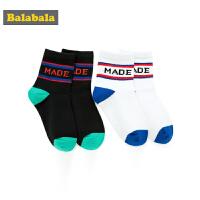 巴拉巴拉男童袜子棉春季新款中大童短袜保暖儿童棉袜中大童两双装