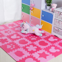 儿童卧室拼接爬行垫拼图地板垫子加厚宝宝爬爬垫泡沫地垫榻榻米 红粉拼图混搭 40片装 送边条