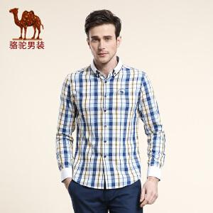 骆驼男装 春季新款无弹双层领格子纯棉长袖衬衫 男士日常衬衣