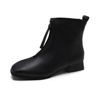 马丁靴女冬2018新款韩版复古简约方头粗跟短靴女平底前拉链机车靴