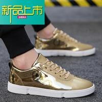 新品上市金色男鞋冬季潮鞋银色漆皮休闲鞋百搭英伦小皮鞋韩版潮流男士板鞋