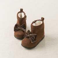 davebella戴维贝拉童装冬季新款女童靴子宝宝加绒保暖棉靴DB11303