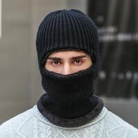 毛线帽子男女冬天套头帽保暖蒙面骑车防风寒东北帽围巾围脖一体帽