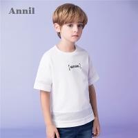 安奈儿童装男童圆领短袖T恤2019夏装新款儿童字母印花打底衫上衣