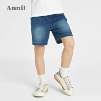 【2件4折价:95.6】安奈儿童装男童牛仔短裤夏季2021新款洋气中大童薄款休闲中裤子潮