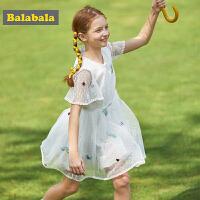 巴拉巴拉女童裙子中大童儿童夏装2019新款童装连衣裙洋气网纱裙女