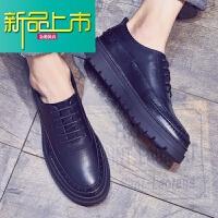 新品上市秋季潮鞋英伦皮鞋男韩版百搭厚底小皮鞋增高青年休闲男鞋子