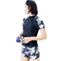泳衣女分体平角裤保守学生运动小胸聚拢遮肚显瘦时尚韩国温泉游泳衣