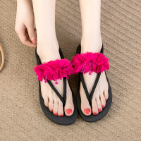 沙滩鞋平跟时尚外穿夹脚人字拖女夏新款波西米亚拖鞋女百搭 jlm-0061 红色