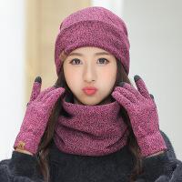 帽子手套围脖女冬天加厚保暖针织套头帽时尚毛线帽休闲加绒包头帽