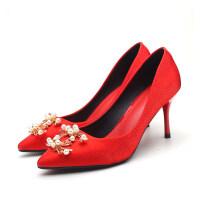 2019新款红色婚鞋女冬季结婚高跟鞋尖头细跟小方扣单鞋水钻新娘鞋