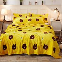 秋冬季法兰绒床单加绒被单法兰绒毛毯卡通珊瑚绒床单单件双人毯子k 黄色 乐萌熊 200x230cm 双人床单